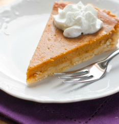 a slice of pumpkin pie and a fork